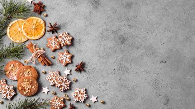 Vista superior de biscoitos de gengibre com espaço cítrico e cópia