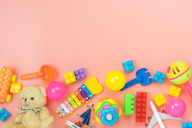 Vista superior de brinquedos