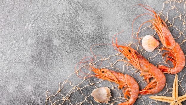 Vista superior de camarão e estrela do mar capturados na rede de pesca