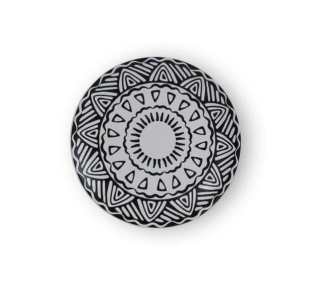 Vista superior de cerâmica em preto e branco isolada no branco