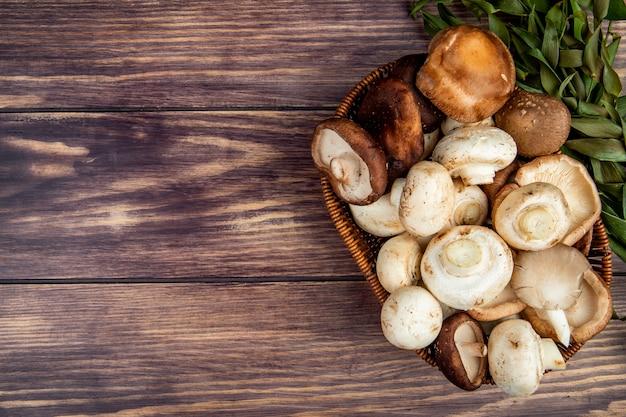 Vista superior de cogumelos frescos em uma cesta de vime em madeira rústica, com espaço de cópia