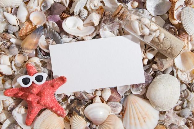 Vista superior de conchas e estrelas do mar em copos com uma folha de papel para texto. fundo abstrato de verão humorístico criativo plano com espaço de cópia