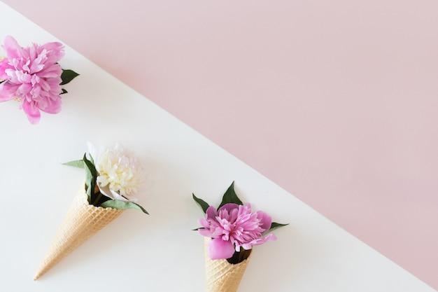 Vista superior de cones de waffle com flores de peônia em fundo rosa e branco pastel, plana leigos