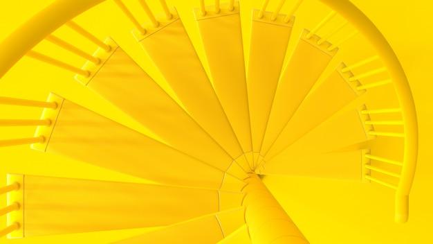 Vista superior de cor amarela de escadas