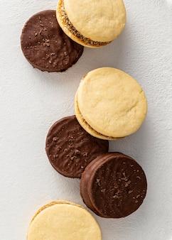 Vista superior de deliciosos biscoitos alfajores