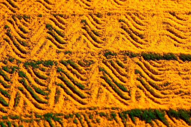 Vista superior de design curvo areia
