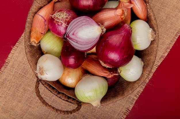Vista superior de diferentes tipos de cebola na cesta de saco na superfície vermelha