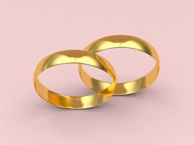 Vista superior de dois casamentos de ouro