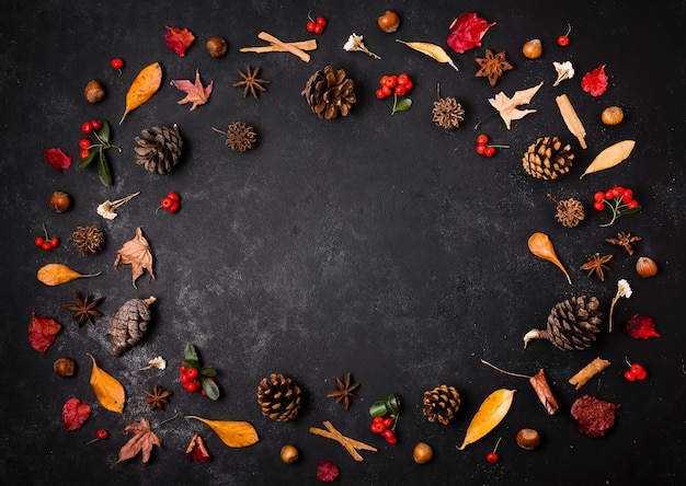 Vista superior de elementos de outono com espaço de cópia