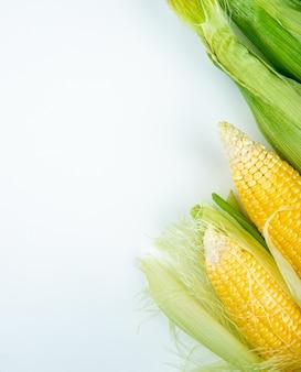 Vista superior de espigas de milho no lado direito e na superfície branca