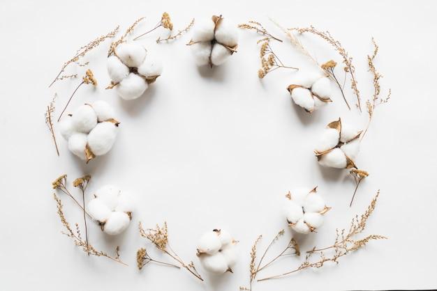Vista superior de flores de algodão