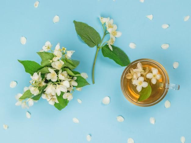 Vista superior de flores de jasmim e chá de jasmim em uma superfície azul. uma bebida revigorante que faz bem à saúde.