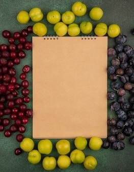 Vista superior de frutas frescas, como cerejas verdes emplumadas e abrunhos roxos escuros isolados em um fundo verde com espaço de cópia