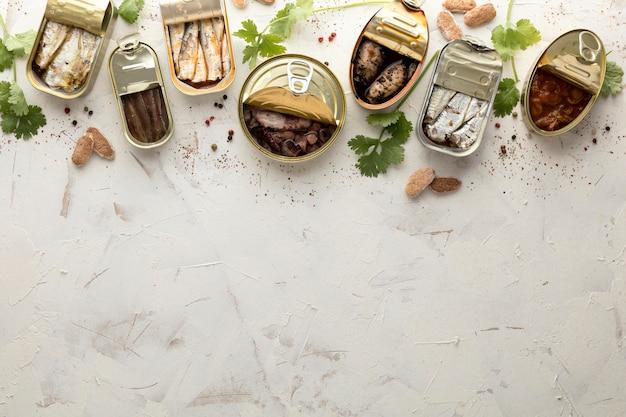 Vista superior de frutos do mar em latas com espaço de cópia