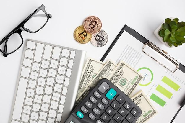 Vista superior de instrumentos financeiros