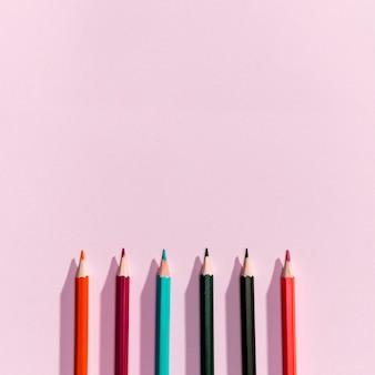 Vista superior, de, lápis, com, copyspace