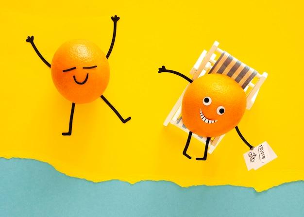 Vista superior de laranjas na praia