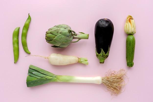 Vista superior de legumes frescos