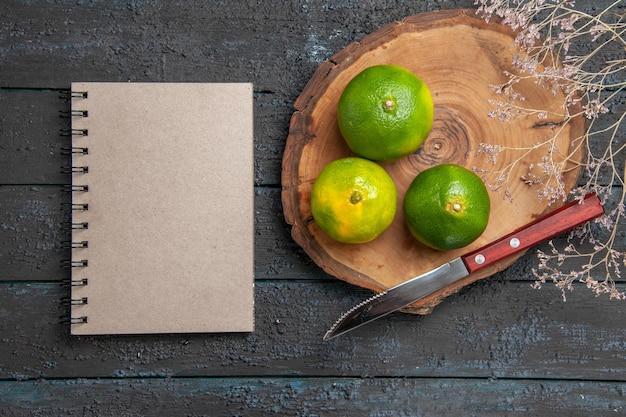 Vista superior de limas verdes ao longe em uma placa de madeira marrom ao lado do caderno de facas e galhos na mesa cinza