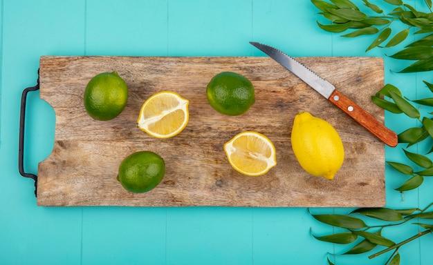 Vista superior de limões frescos e coloridos na placa de cozinha de madeira com faca com folhas em azul