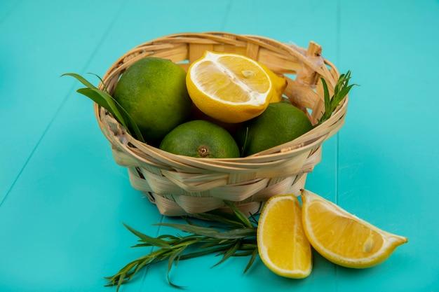 Vista superior de limões verdes e amarelos com estragão verde e fresco em um balde na superfície azul