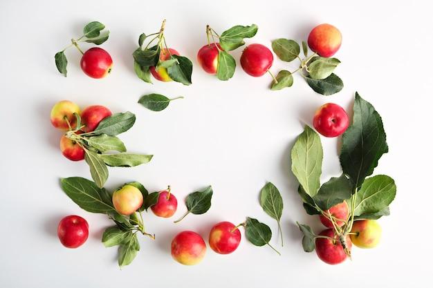 Vista superior de maçãs com beirais isolados