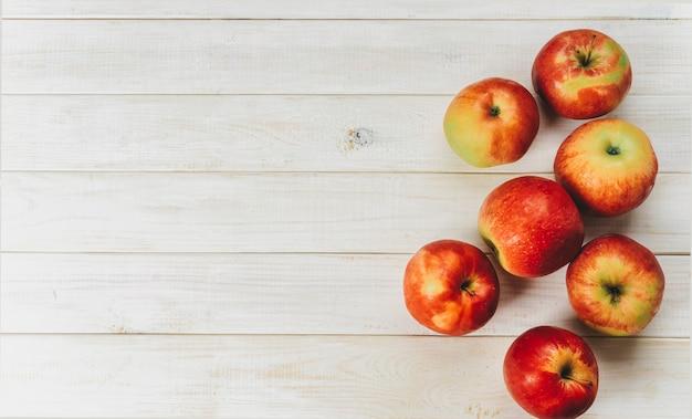 Vista superior, de, maçãs vermelhas, branco, fundo