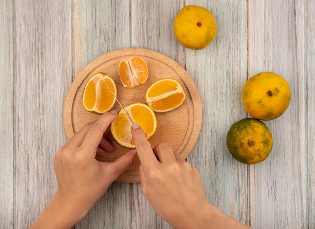 Vista superior de mãos femininas cortando uma tangerina em uma placa de cozinha de madeira com uma faca em uma superfície de madeira cinza