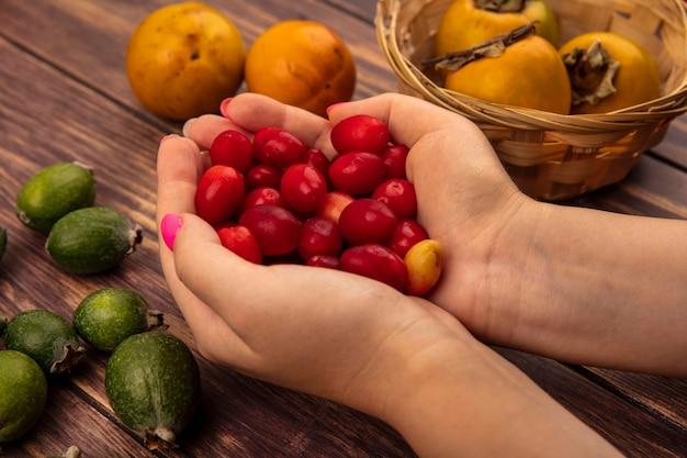 Vista superior de mãos femininas segurando cerejas ácidas da cornalina com frutas frescas de caqui em um balde com feijoas isoladas em um fundo de madeira