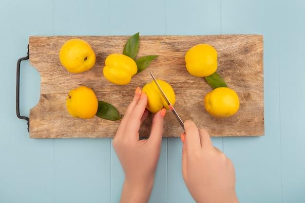 Vista superior de mãos femininas segurando pêssego amarelo fresco em uma placa de cozinha de madeira em um fundo azul