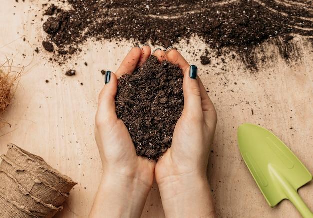 Vista superior de mãos femininas segurando solo