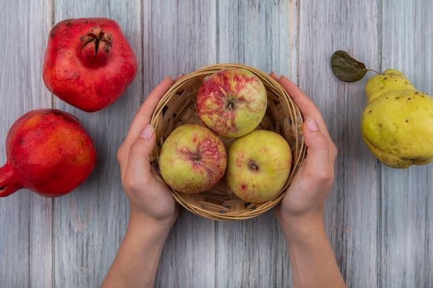 Vista superior de mãos femininas segurando um balde com maçãs vermelhas frescas e romãs isoladas em um fundo cinza de madeira