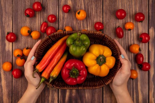 Vista superior de mãos femininas segurando um balde de pimentão fresco com tomate cereja isolado em uma parede de madeira