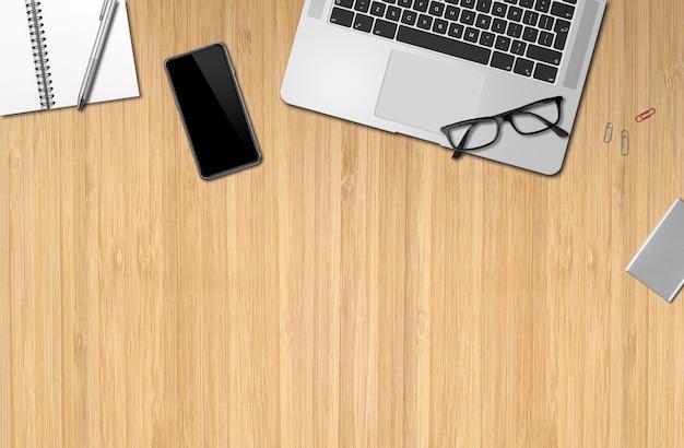 Vista superior de maquete de mesa de madeira de escritório moderno
