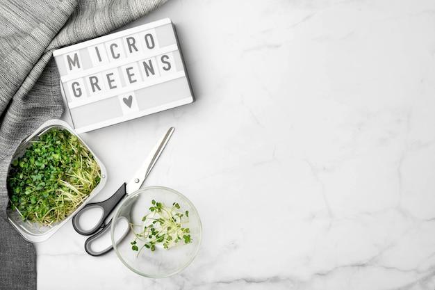 Vista superior de microgreens na mesa de mármore branco. superalimento saudável