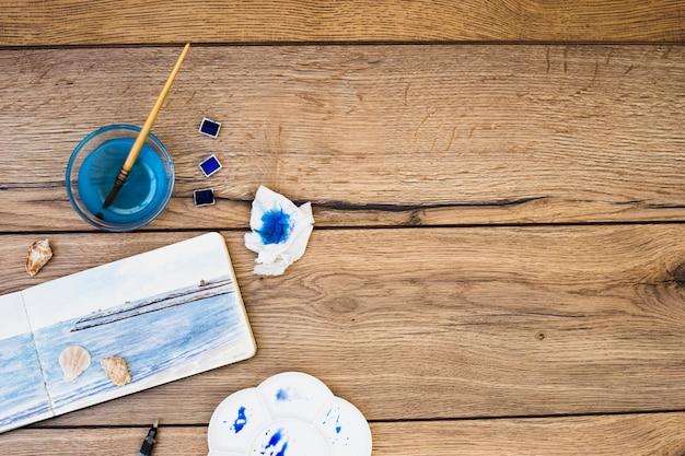 Vista superior, de, modernos, artista, escrivaninha, com, equipamento aquarela
