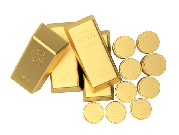 Vista superior de moedas e barras de ouro
