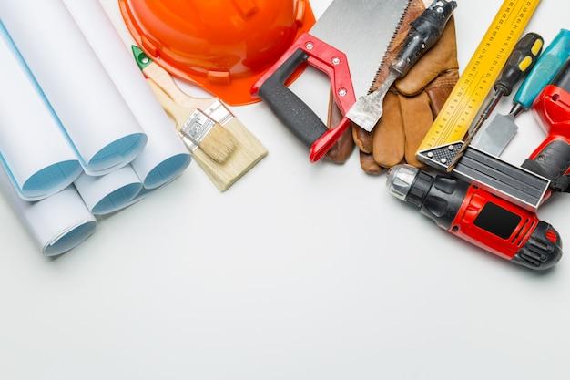 Vista superior de muitas ferramentas