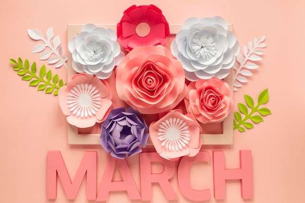 Vista superior de muitas flores de papel com mês para o dia da mulher