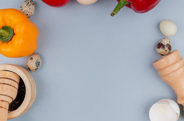 Vista superior de ovos de galinha e codorna com pimentão com almofariz de madeira e pilão com saleiro em um fundo branco com espaço de cópia