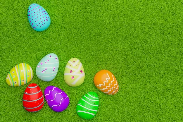 Vista superior de ovos de páscoa em cores no campo de grama, renderização em 3d