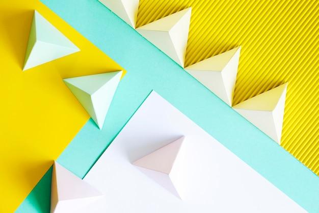 Vista superior de papel forma geométrica
