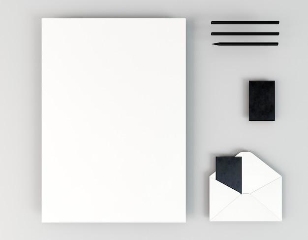 Vista superior de papelaria corporativa em branco