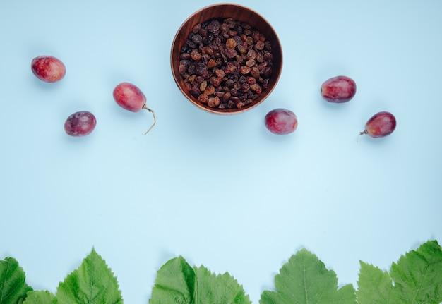 Vista superior de passas secas em uma tigela com uvas doces na mesa azul com espaço de cópia