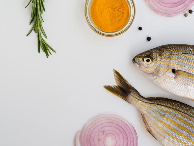 Vista superior de peixe fresco com vegetais e condimentos