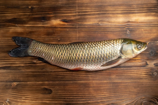 Vista superior de peixe fresco cru produto em mesa de madeira peixe carne do mar oceano food