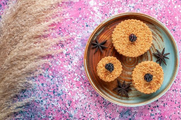 Vista superior de pequenos bolos gostosos, doces e deliciosos dentro do prato na superfície rosa