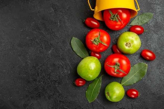 Vista superior de perto balde com folhas de louro vermelhas verdes e tomates cereja em solo escuro com espaço de cópia