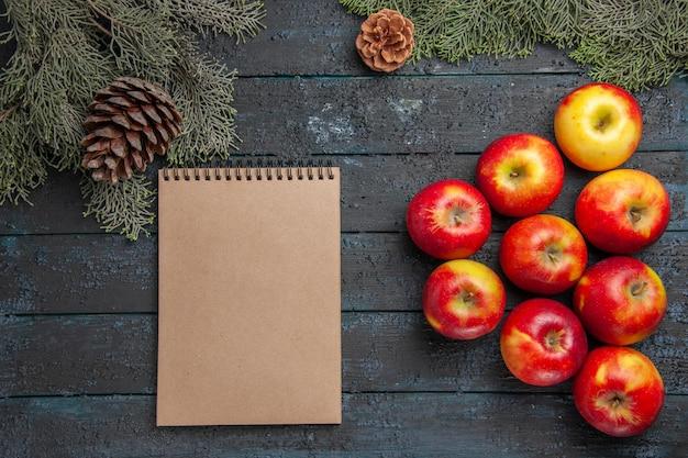 Vista superior de perto frutas e caderno nove maçãs e caderno sob os galhos da árvore com cones