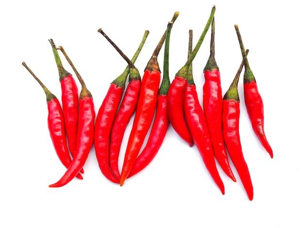 Vista superior de pimentas vermelhas frescas